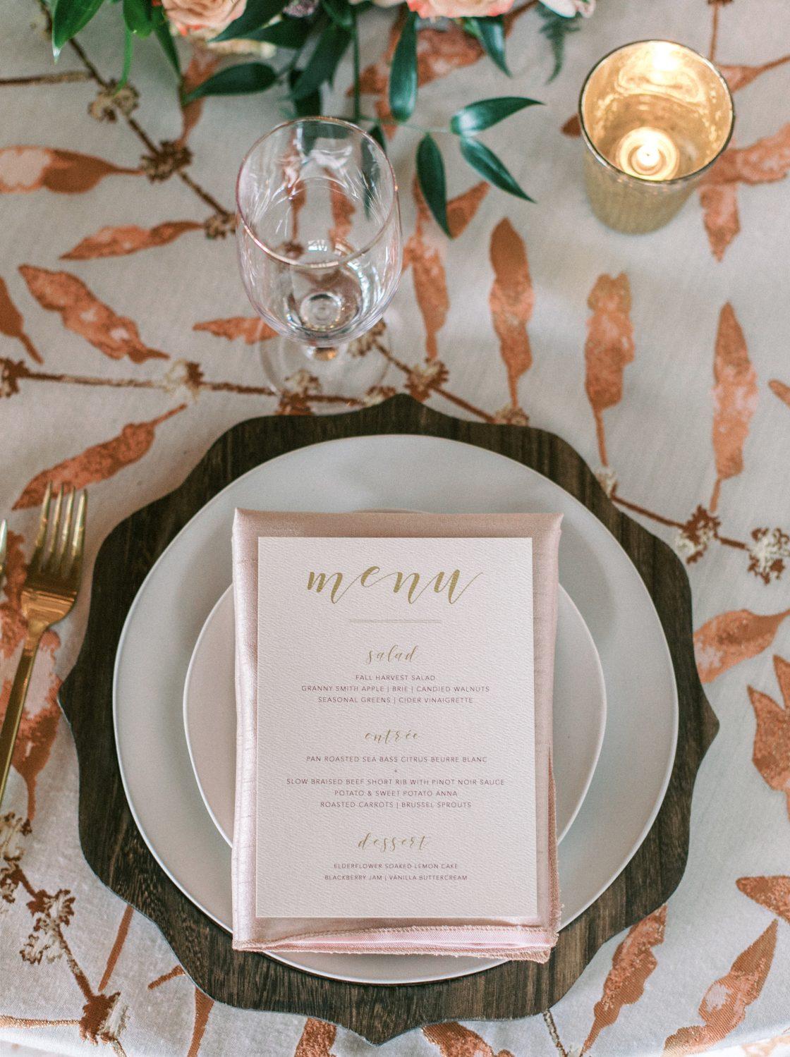 Rustic Elegant Wedding Menu