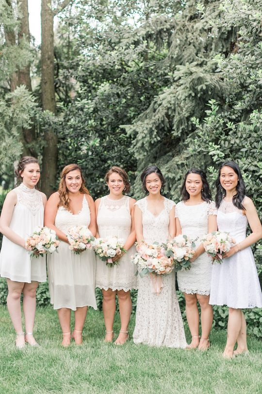 Soft Blush and Ivory Bridesmaids Dresses