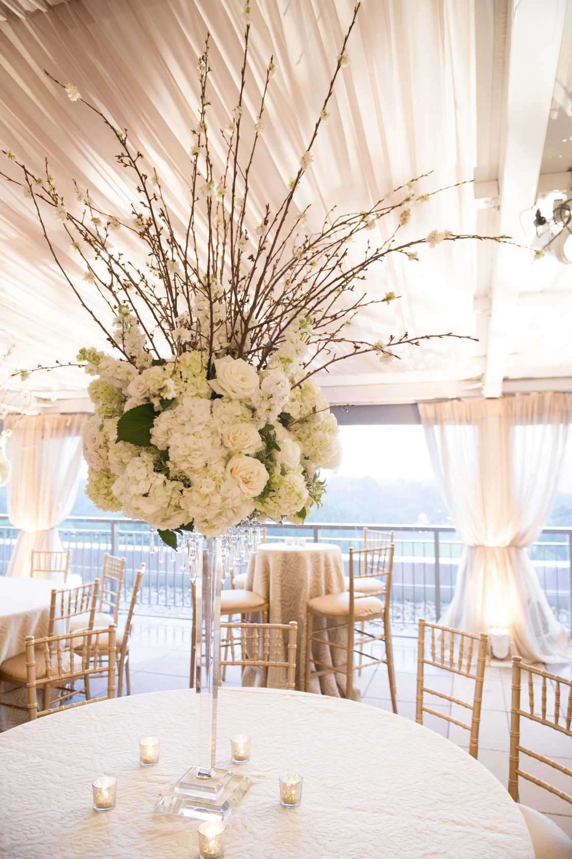 Tall White and Gold Wedding Centerpiece with Branches