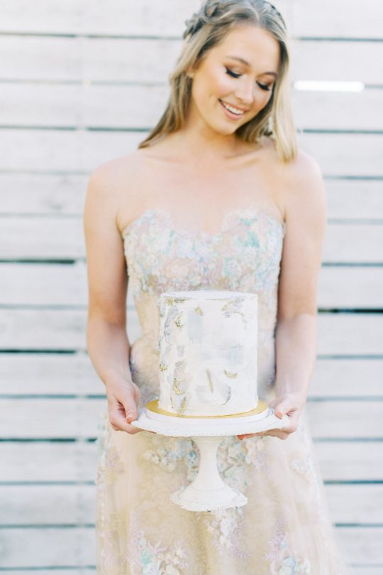 Watercolor Painterly Wedding Cake
