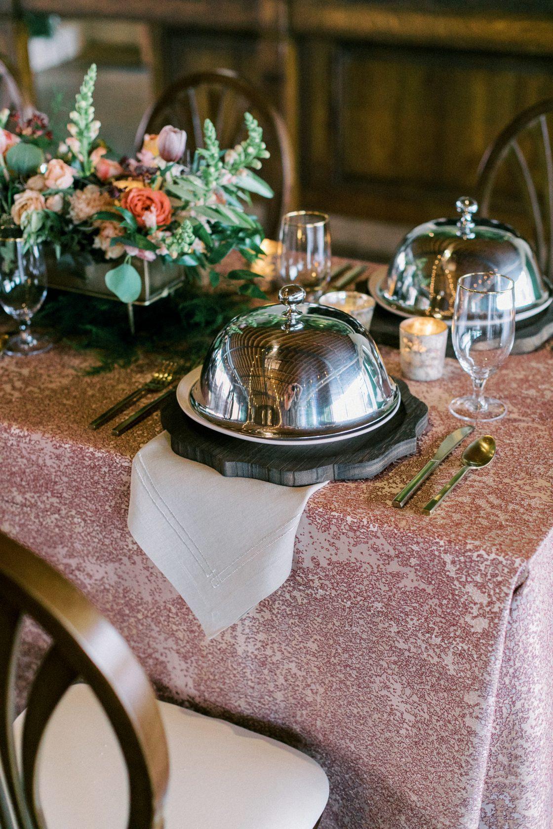 White Glove Wedding Reception Service Domed Plates