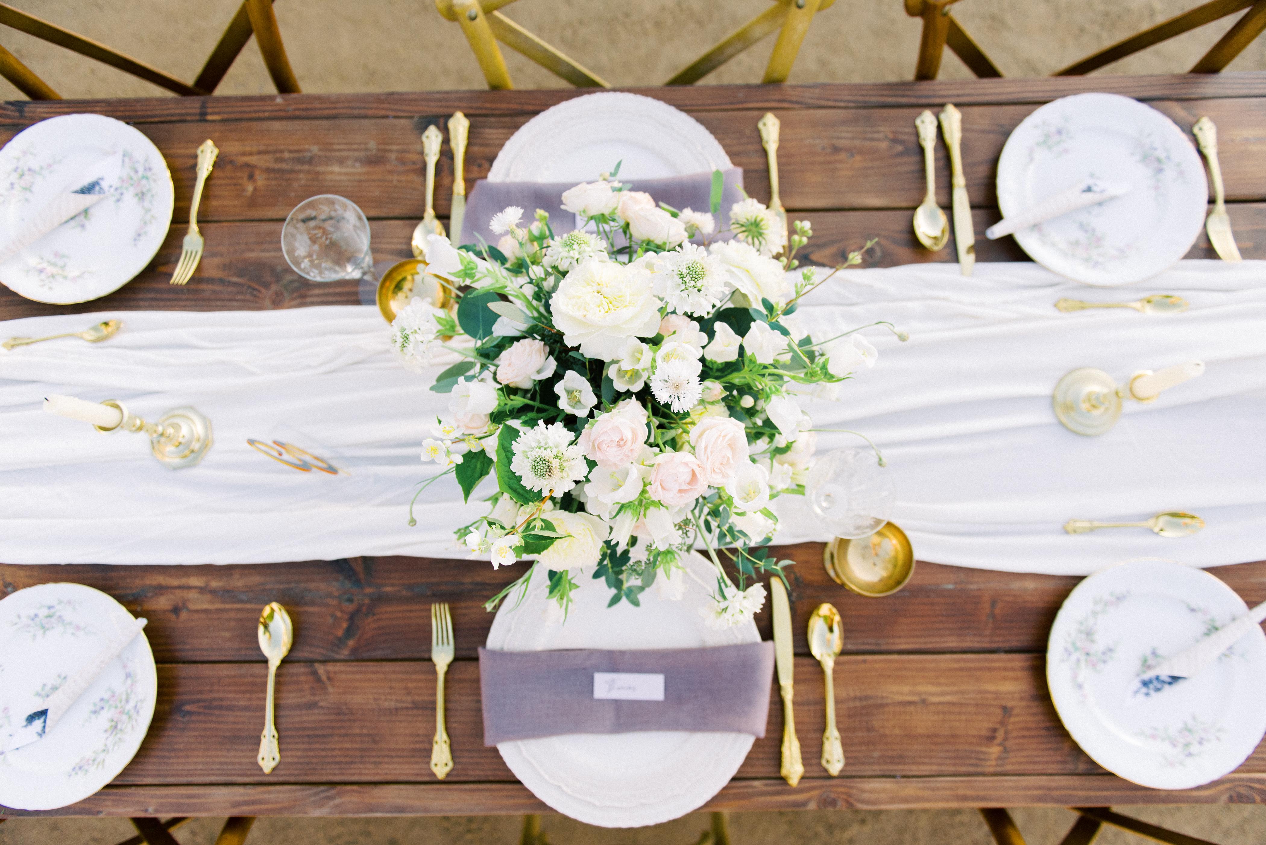 White Ivory Blush Wedding Centerpiece