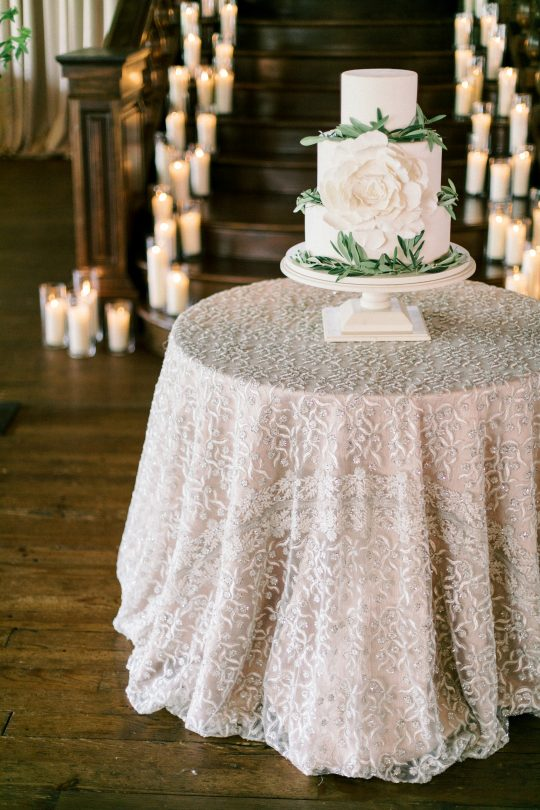 White and Greenery Faux Wedding Cake