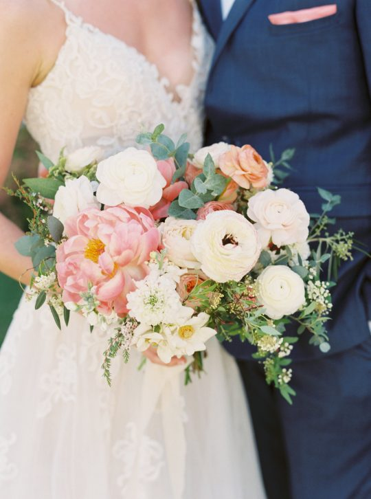 Blush Coral Ivory Wedding Bouquet with Peonies and Ranunculus