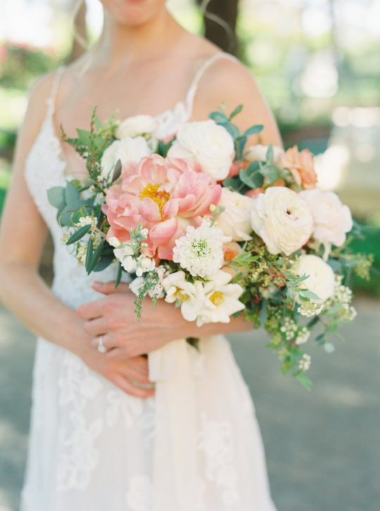 Coral Peony Ivory Ranunculus Roses Wedding Bouquet