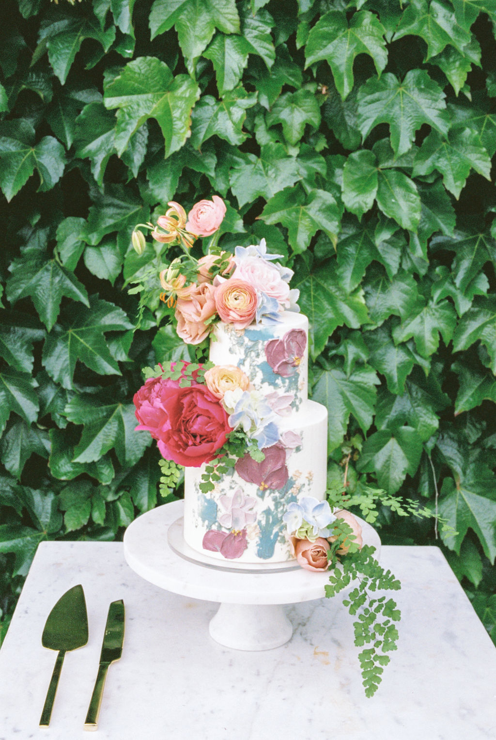 Floral Watercolor Inspired Wedding Cake