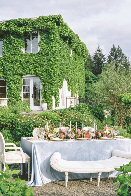 French Blue Garden Wedding Tablescape