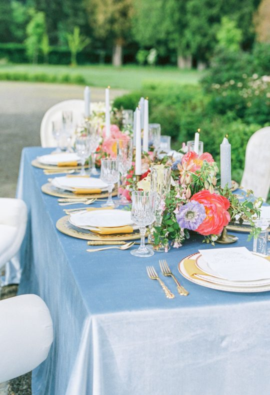 French Blue Wedding Reception Table Linens