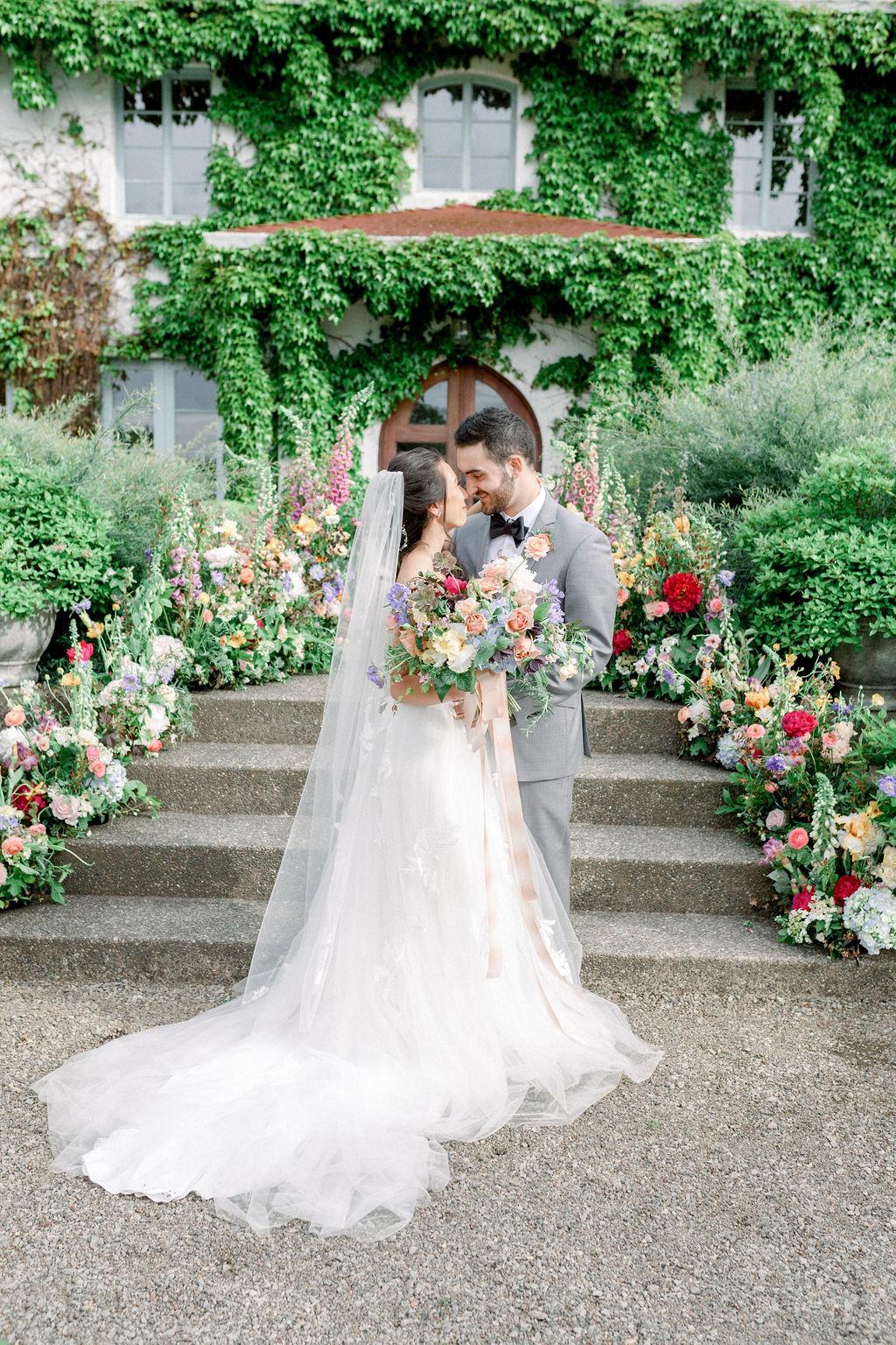 Garden Flower Wedding Portrait