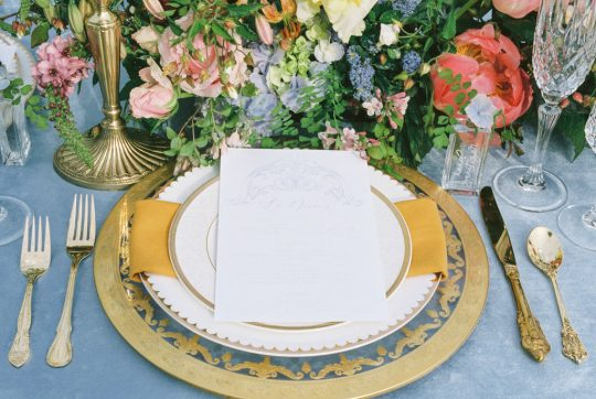 Gold and Blue Wedding Reception Tablescape