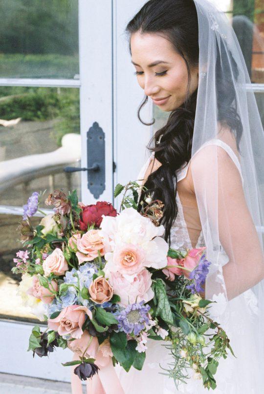 Romantic Pastel Watercolor Wedding Bouquet