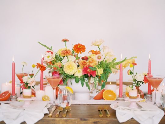 Bright Pink Peach Coral Orange Wedding Inspiration