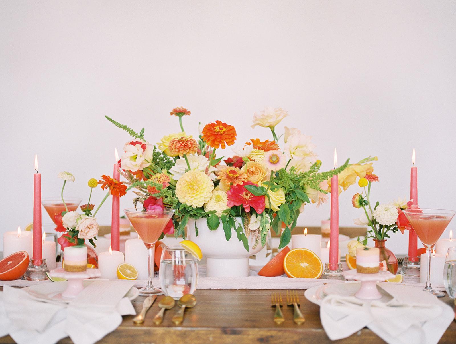 Bright Pink Peach Coral Orange Wedding Inspiration