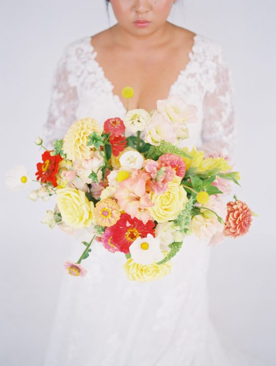 Bright and Cheery Yellow Red Pink Wedding Bouquet