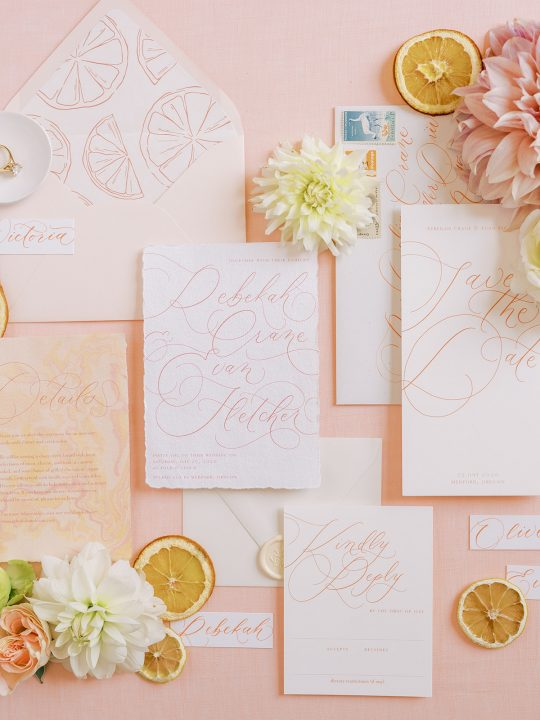 Citrus Inspired Wedding Invitations