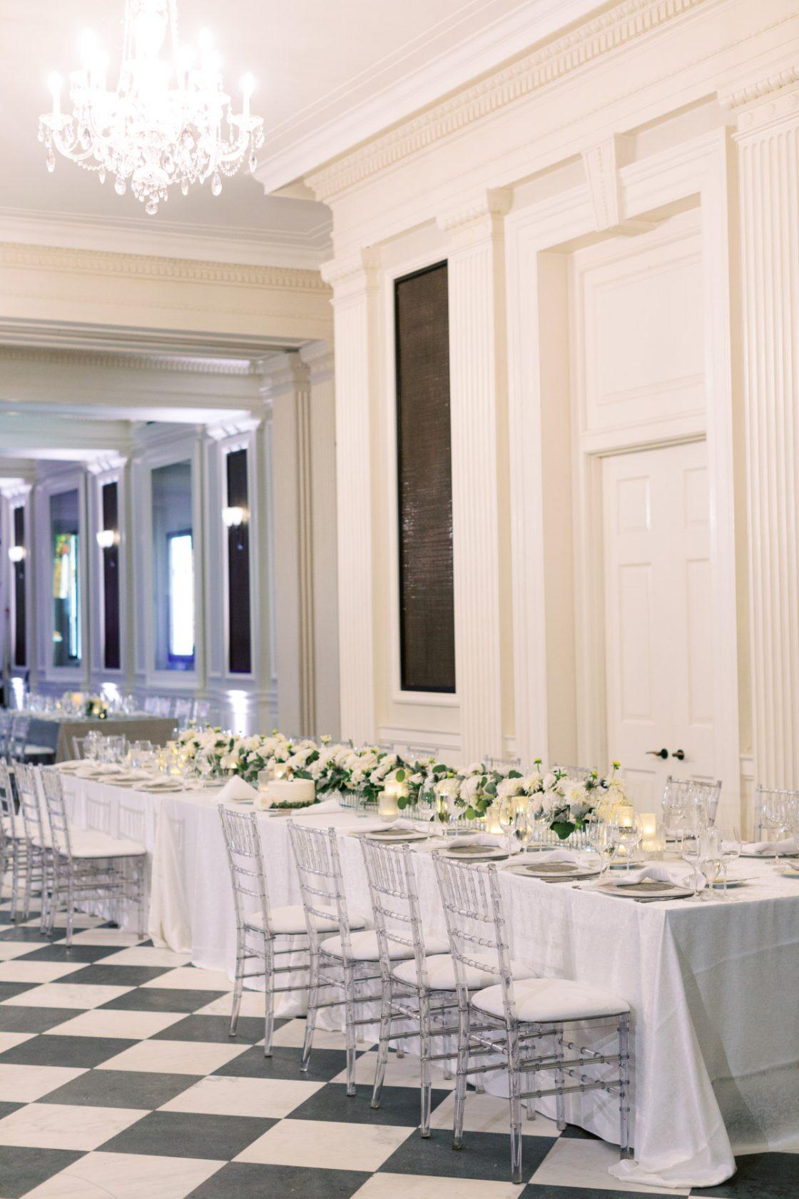 Classic Elegant Black and White Wedding Reception