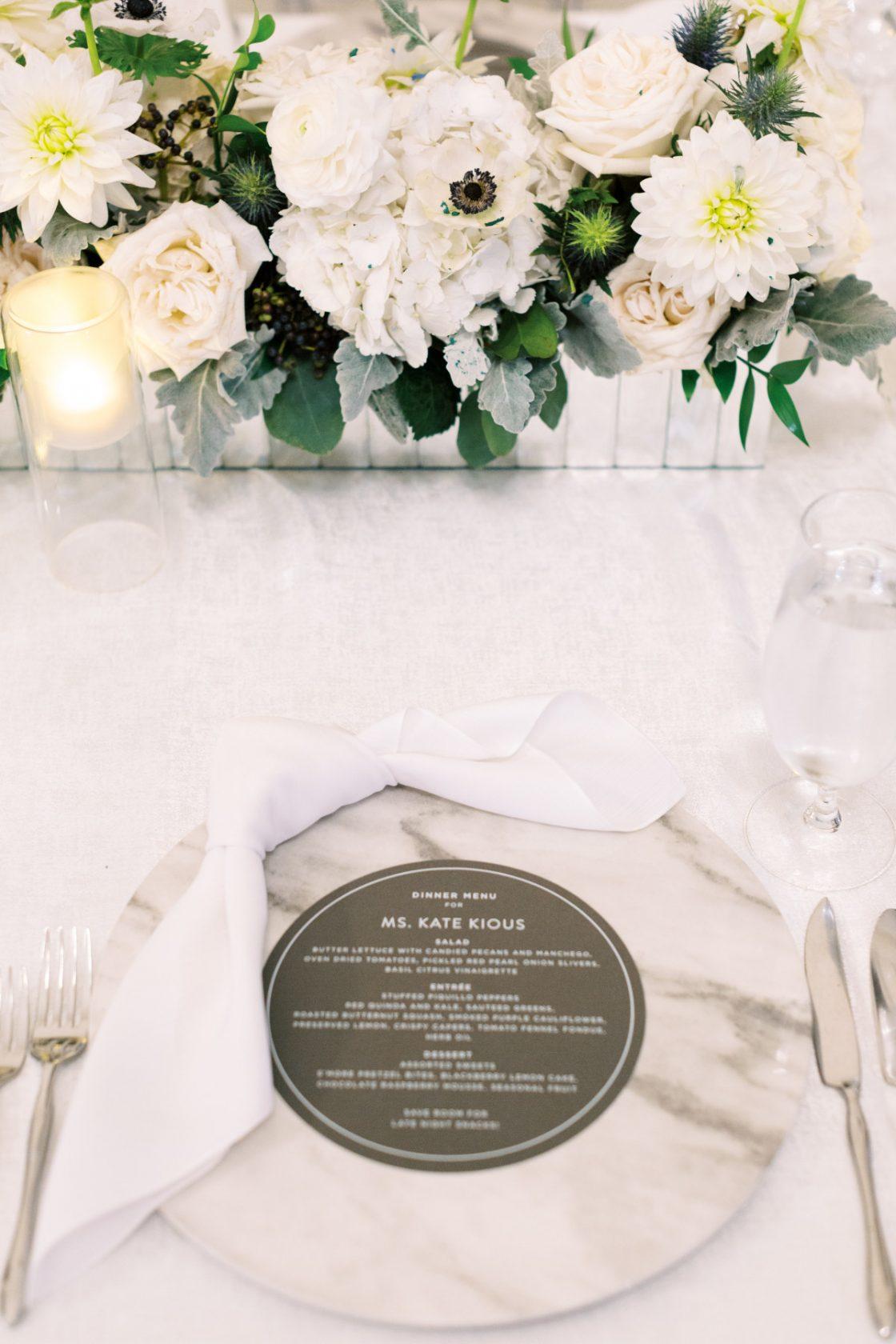 Classic Modern Wedding Place Setting Menu