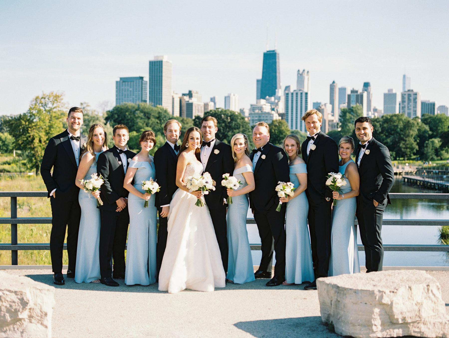 Elegant Light Blue Bridesmaids Bridal Party