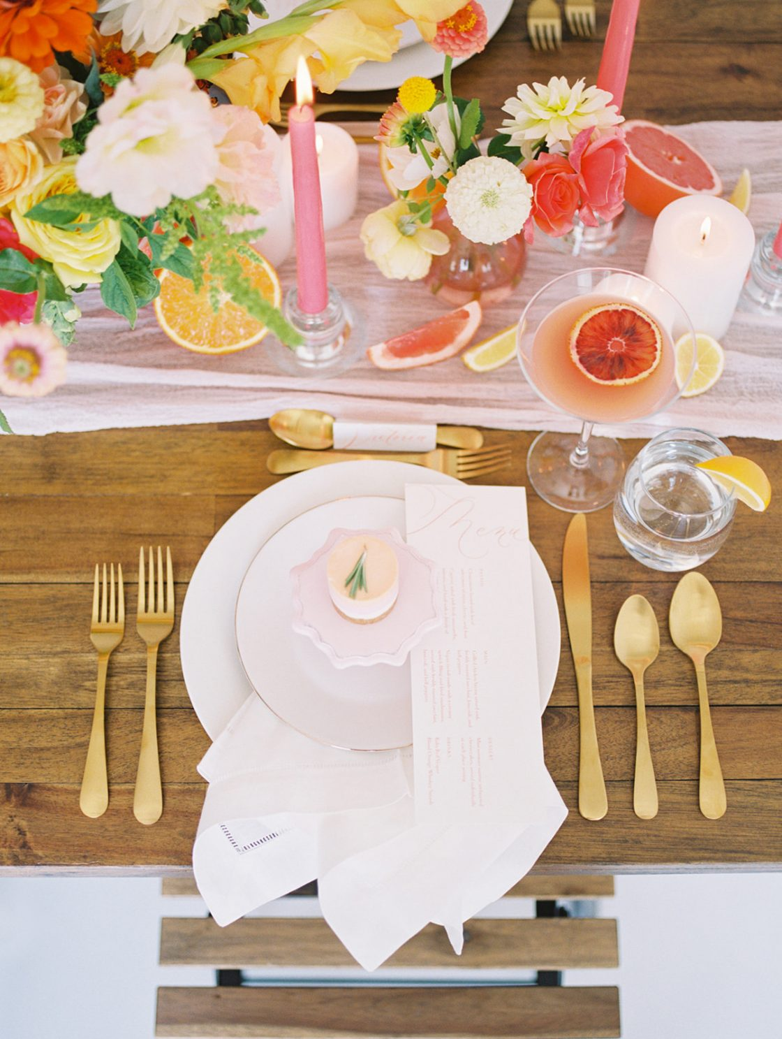 Gold and Pastel Wedding Tablescape