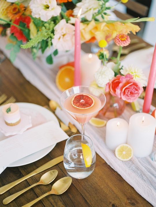 Pink Grapefruit Inspired Wedding Tablescape