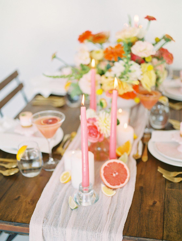 Pink Wedding Candle Table