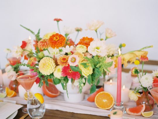 Yellow Orange and Pink Wedding Color Palette