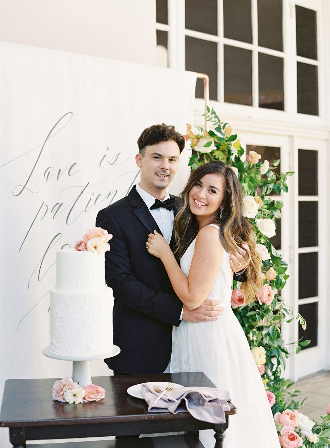 Bride and Groom Wedding Cake Portrait