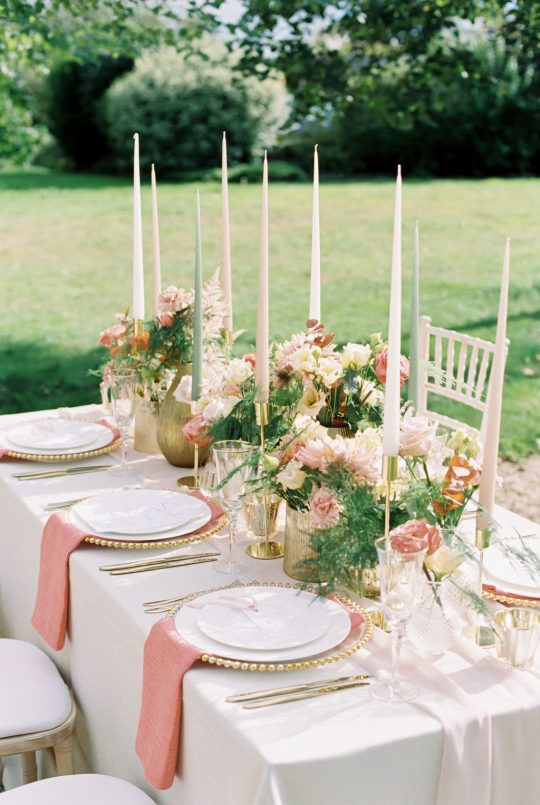 Coral and Champagne Wedding Reception Tablescape Inspiration