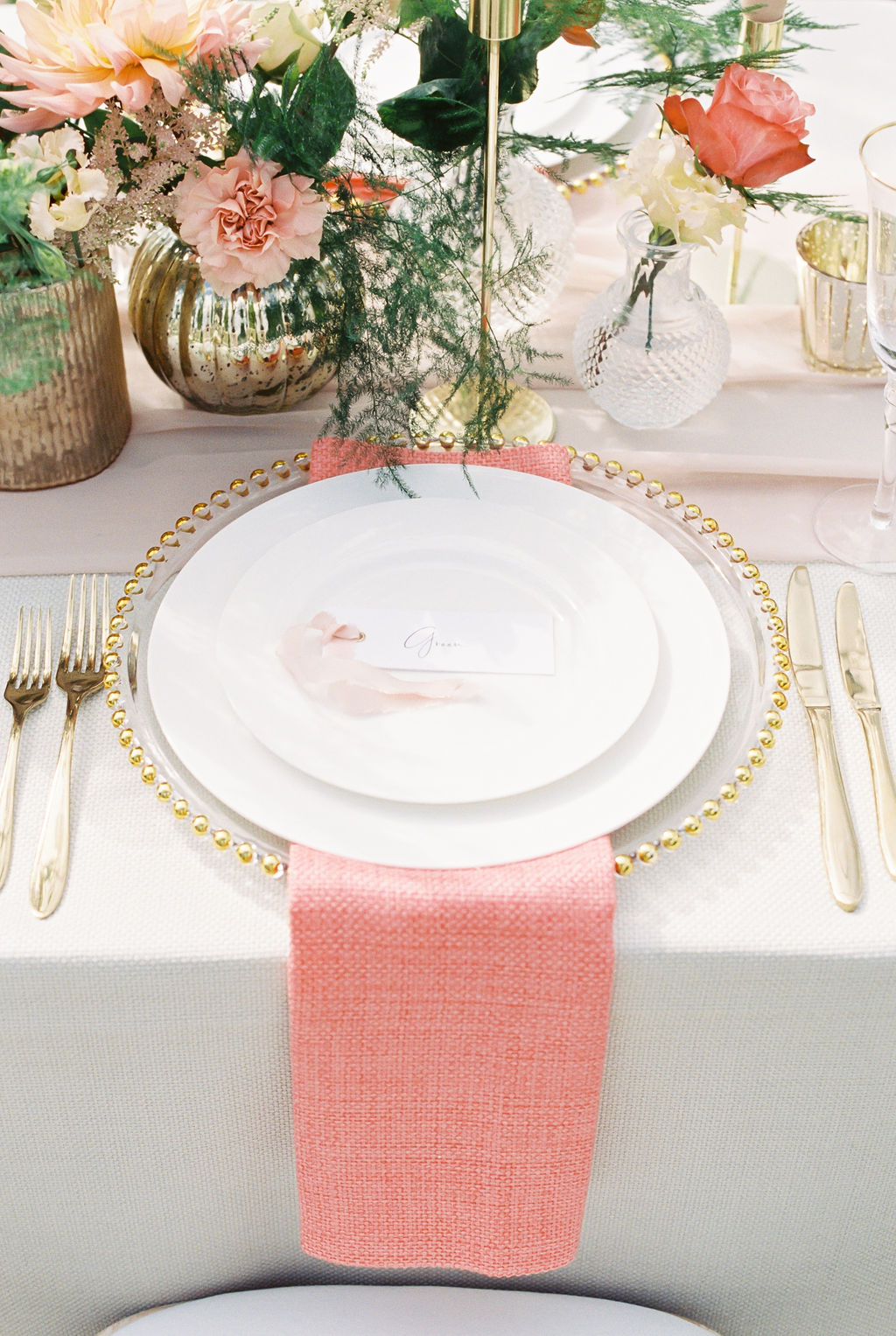 Coral and Gold Wedding Place Setting
