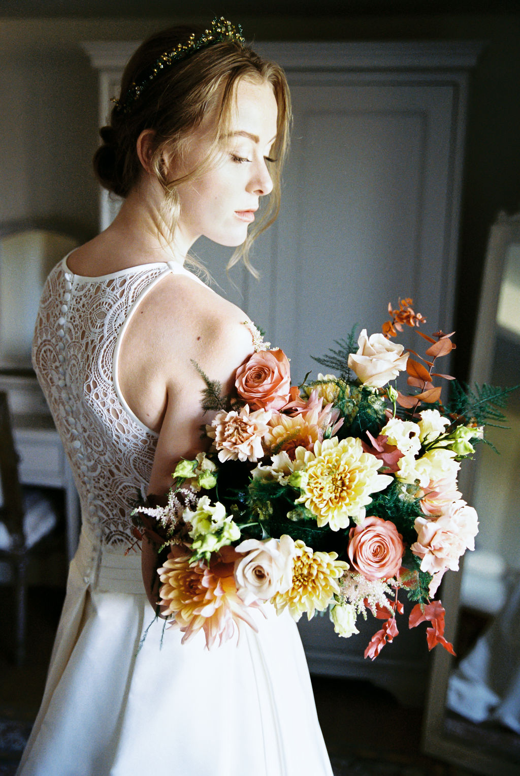 Coral and Ivory Wedding Bouquet