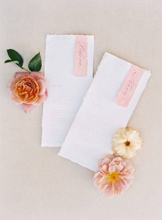 Handmade Paper Wedding Menus