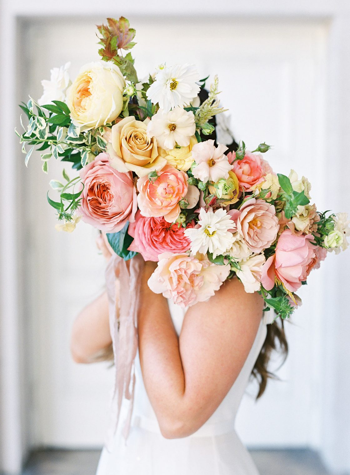 Pastel Citrus Rose Wedding Bouquet