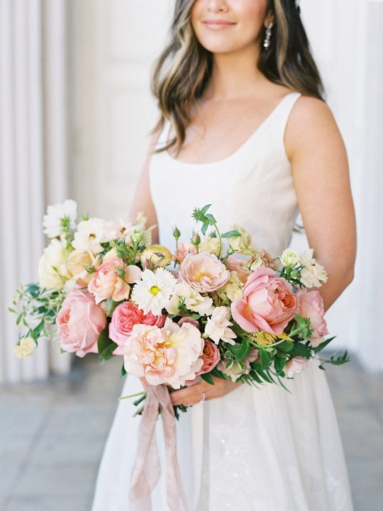 Pastel Coral Peach Wedding Bouquet