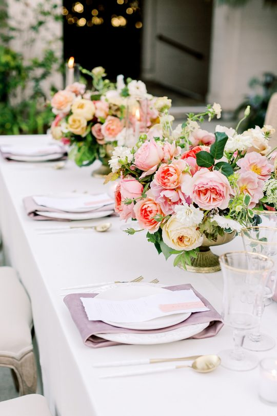 Pink Coral Peach Pale Yellow Wedding Centerpieces