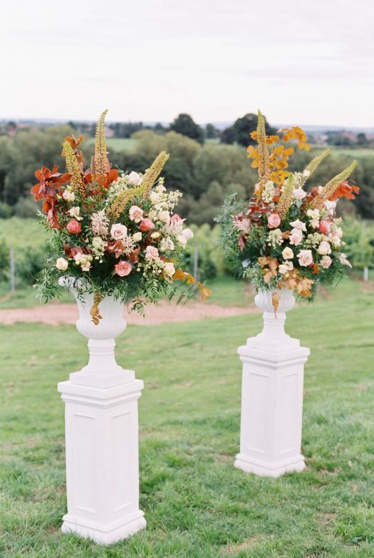 Tall Fall Colored Wedding Ceremony Floral Arrangement Inspiration