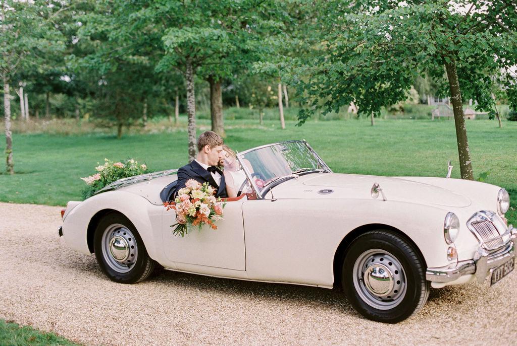 Vintage Car Wedding Portrait