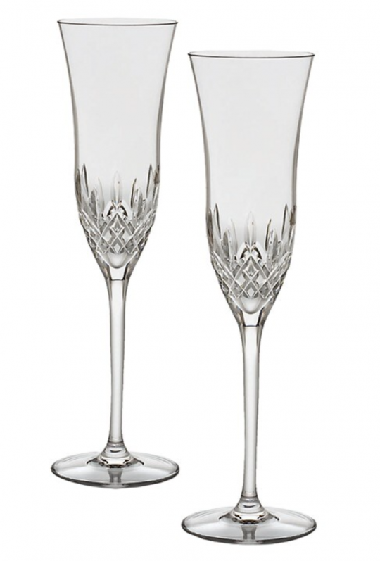 2 Etched Waterford Crystal Champagne Flutes