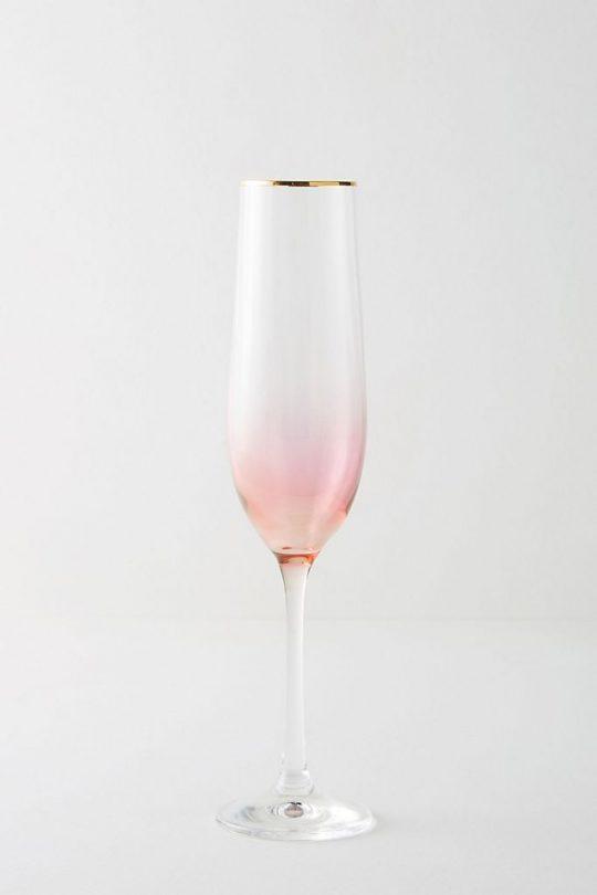 5 Anthropologie Gold Rimmed Pink Champagne Flute