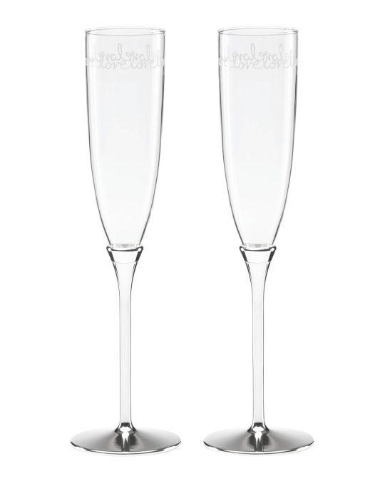 8 Kate Spade Love Champagne Flutes