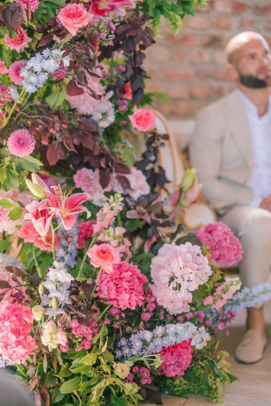 Bright Pink Wedding Ceremony Flowers
