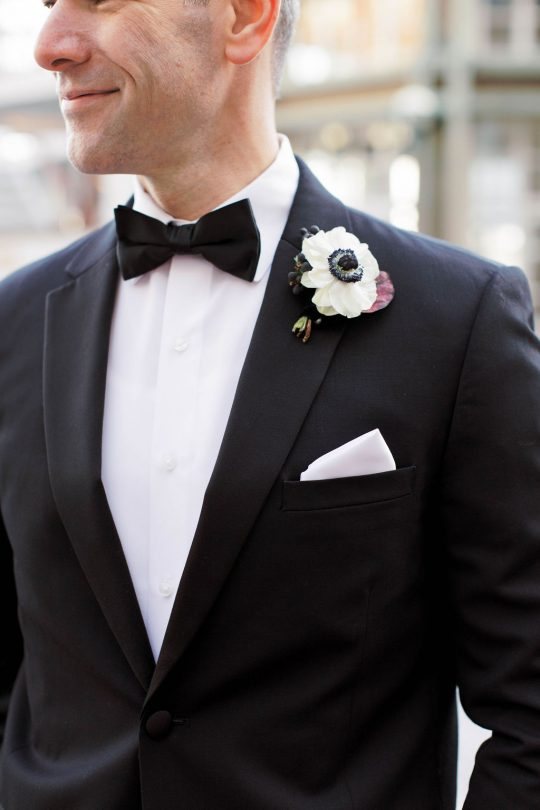 Classic Chic Black Groom Tux with White Anemone Boutonniere