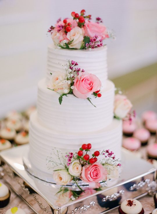 Classic Red Pink and White Wedding Cake
