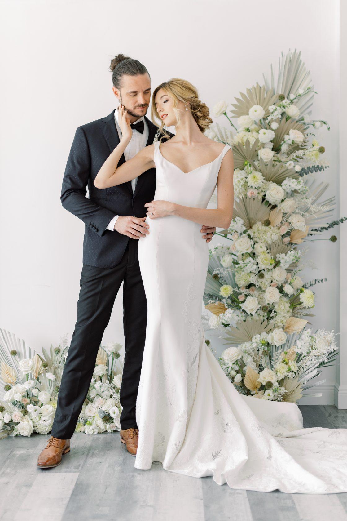 Elegant Bride and Groom with Man Bun