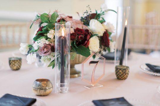 Elegant Luxe Burgundy and White Wedding Centerpiece