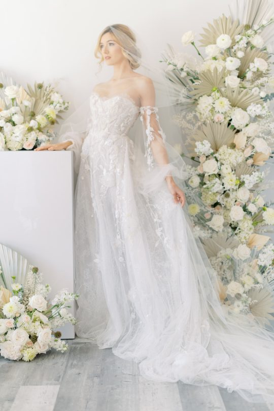 Ethereal Floral Wedding Gown with Sleeves