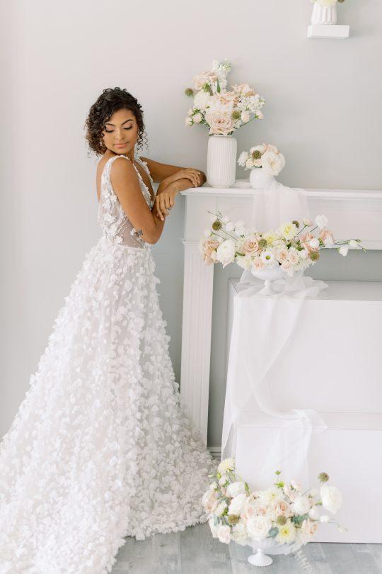 Floral Applique Wedding Gown