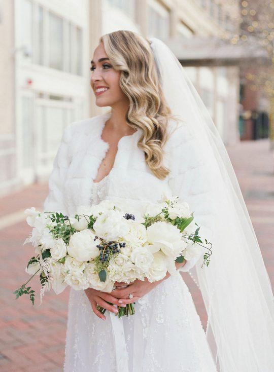 Glamorous Elegant Winter White Bridal Gown Look