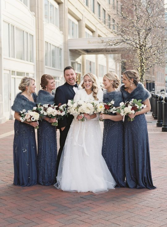 Glamorous Navy Winter Bridesmaids Dresses With Fur Stoals