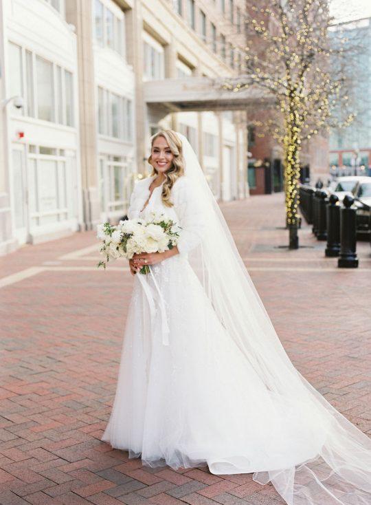 Glamorous Winter White Wedding Bridal Look