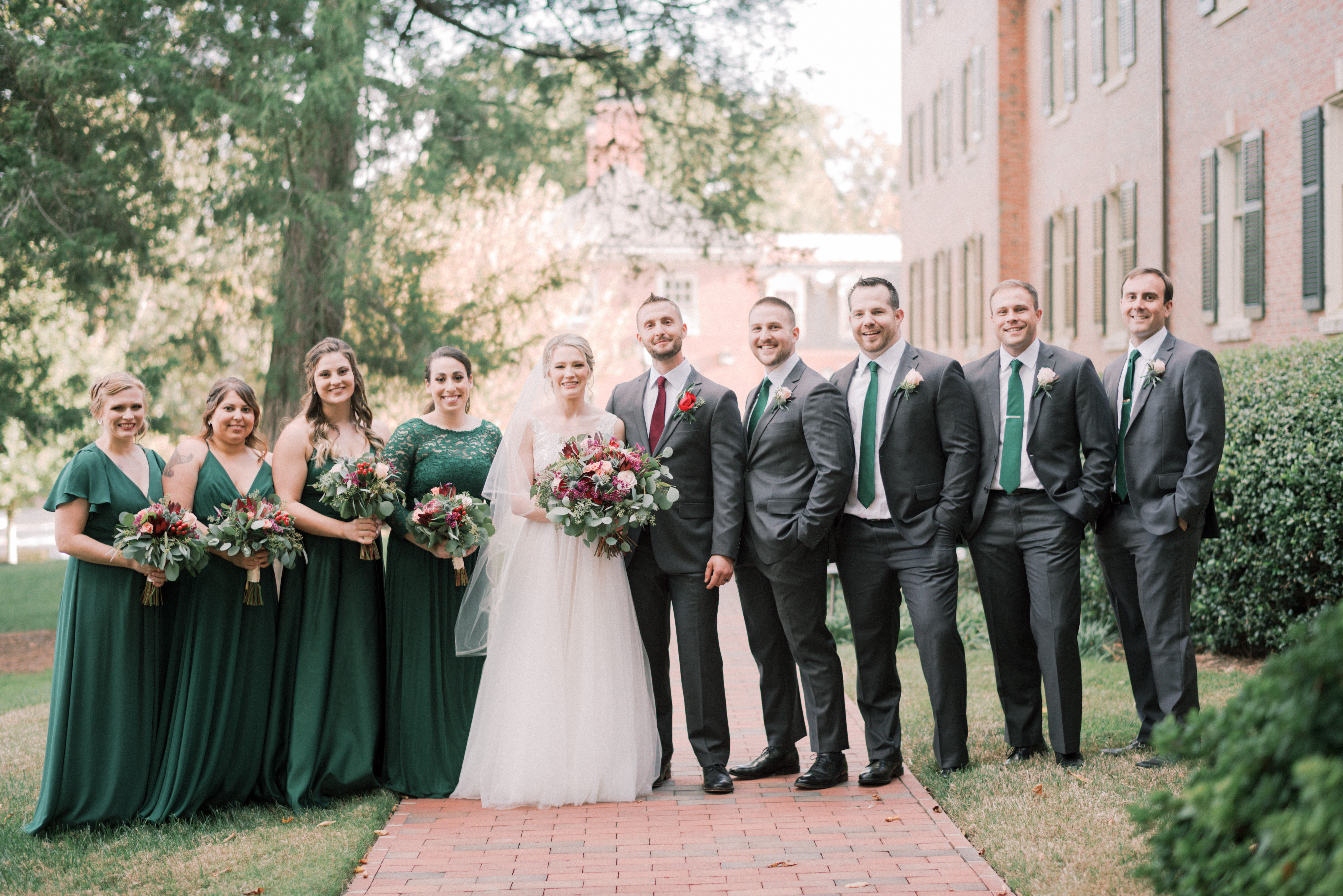Green and Red Wedding Party